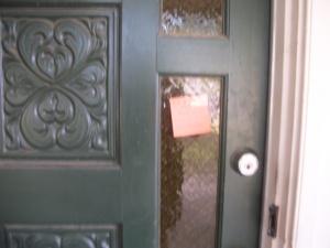 Photo on door